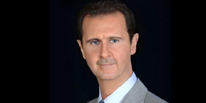 """El presidente al Assad recibe telegramas de felicitación por la fiesta del sacrificio """"Eid al Adha"""""""