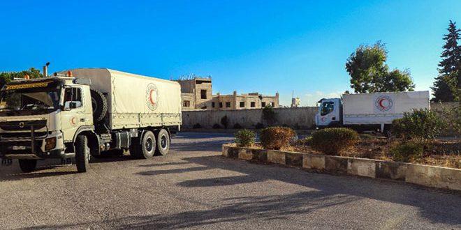 SARC distribuye ayuda a los habitantes de Hamidiya en el campo de Quneitra