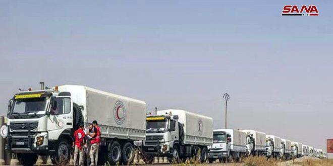 16 camiones cargados con ayudas llegan a la región de Layat, Deraa