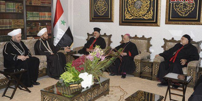 Gran Muftí Hassoun se reúne con Patriarca de la Iglesia siriaca-católica en todo el mundo