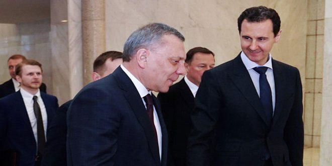 Presidente al-Assad recibe a Yury Borisov y examina con él la cooperación entre Siria y Rusia y los acuerdos bilaterales firmados
