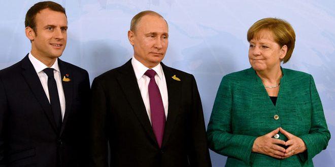Putin examina con Merkel y Macron la situación en Siria