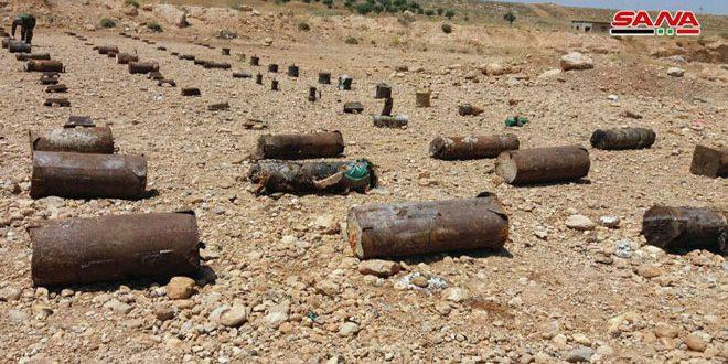 Grandes cantidades de C4, artefactos explosivos dejados por terroristas encontrados en el campo de Damasco