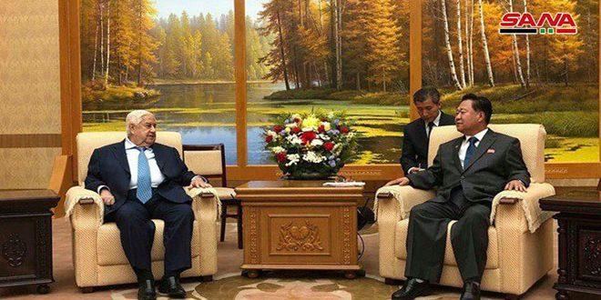 Al-Moallem examina con Riong Hi las relaciones amistosas entre Siria y Corea Democrática