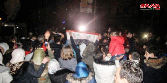 Celebración popular en Alepo por la liberación de poblados del terrorismo