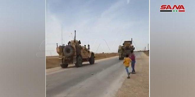 Pobladores sirios enfrentan a un convoy del ejército de ocupación de EE.UU en Hasakeh
