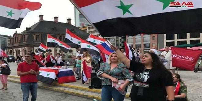 Protestan en Fráncfort contra el bloqueo y la Ley César impuesta a Siria