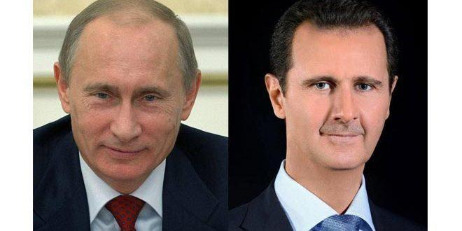 Presidente al-Assad recibe mensaje de felicitación del presidente Putin con motivo del Día de la Independencia