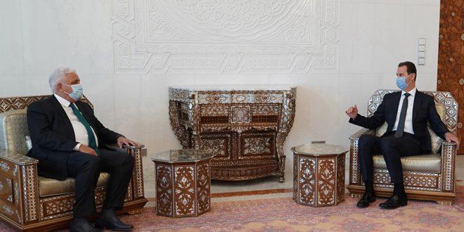 Presidente al-Assad recibe mensaje del primer ministro iraquí sobre cooperación en lucha contra el terrorismo