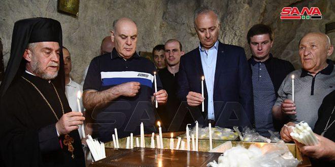 Visita del Presidente de Abjasia al monumento conmemorativo del mártir en monte Qassiyun y a Saydnaya y Maalula