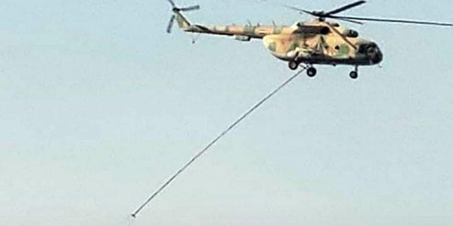 Helicópteros del ejército sirio participan en extinción de incendio en la frontera con Líbano
