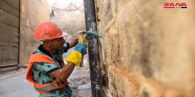 Las piedras del mercado antiguo Ahmadiya en Alepo recuperan su brillo con más obras de restauración