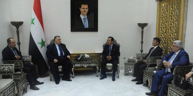 رئیس پارلمان سوریه به سفیر جمهوری دموکراتیک خلق کره: روابط در زمینه های مختلف بین سوریه و کره پیشرفت می کند