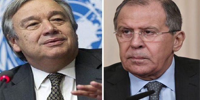 لاوروف و گوتیریس بحران در سوریه و مسائل دیگر بین المللی را مورد بحث قرار د ادند