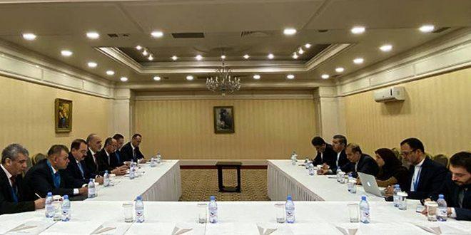 دیدار هیات جمهوری عربی سوریه به مذکرات استانه با هیات ایرانی و هیات سازمان ملل