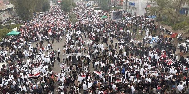 تظاهرات مردم عراق در مخالفت با حضور نیروهای آمریکایی در بغداد آغاز شد