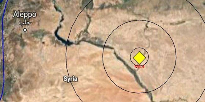 زمین لرزه ای به بزرگی 4.4 ریشتر استان دیر الزور را لرزاند