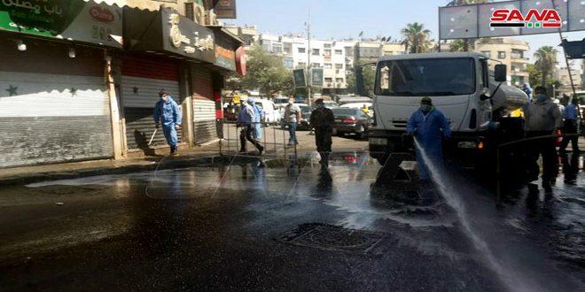 راه اندازی کمپین ضدعفونی خیابان ها و محله های شهر دمشق برای مقابله با ویروس کرونا