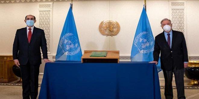 تاکید دبیر کل سازمان ملل متحد بر تعهد قوی خود برای همکاری با دولت سوریه