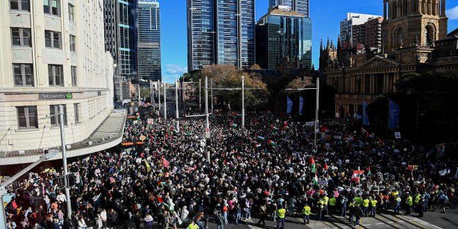 برپایی تظاهرات علیه جنایات رژیم صهیونیستی در شهرهای آمریکا و استرالیا و آلمان