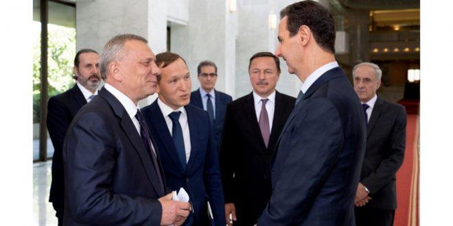 دیدار رئیس جمهور بشار اسد با «یوری بوریسوف» معاون نخست وزیر روسیه در دمشق
