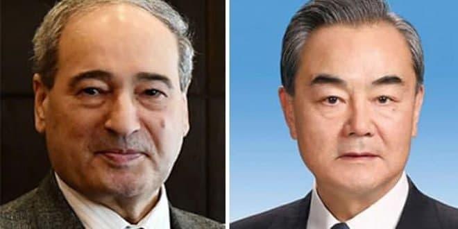 وزیر خارجه چین به مقداد: ما از تلاش های سوریه برای حفظ حاکمیت، استقلال و تمامیت ارضی خود حمایت می کنیم