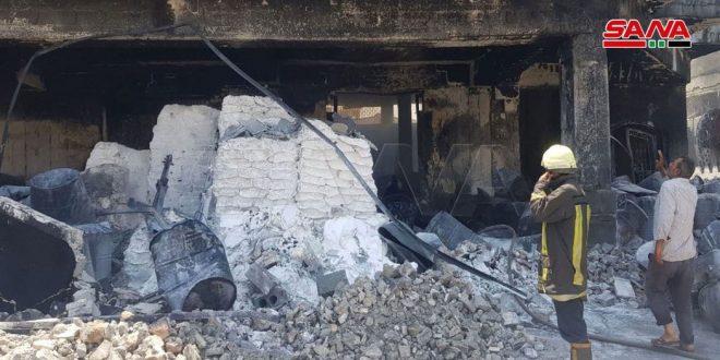 اطفای یک آتش سوزی که در یکی از کارخانه های رنگسازی در شهر صنعتی حلب به وقوع پیوست
