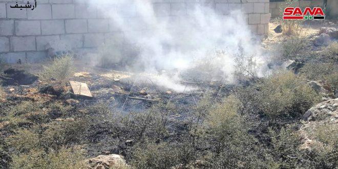 """مهار آتش سوزی در روستای """"الشراشیر"""" در حومه شهر جبله"""