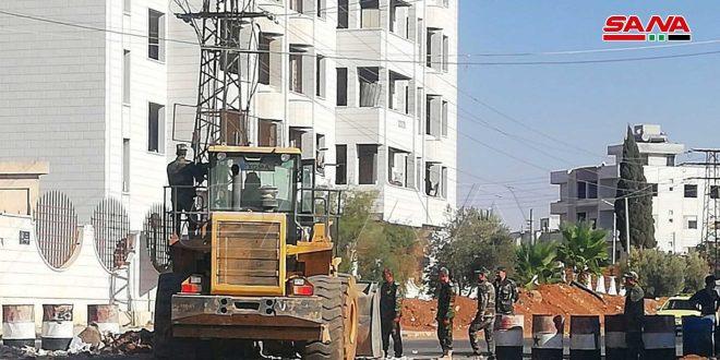 تعمیر و نگهداری اکثر شبکه های برق در منطقه درعا البلد..ادامه بازکردن جاده ها