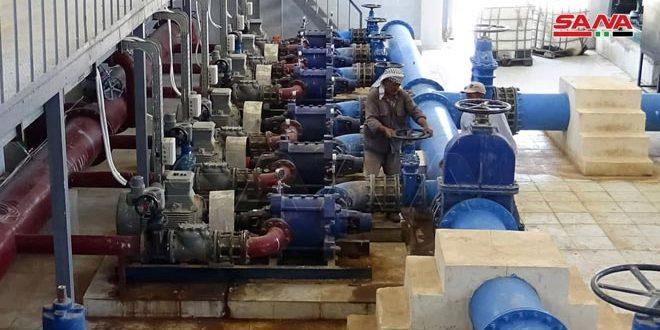 تعمیر پمپ آب (مسکنه) در حومه شرقی حلب