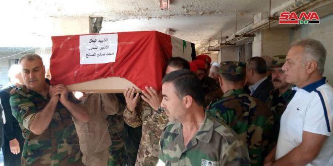 تشییع پیکر شهید مبارز مدحت الصالح از بیمارستان شهید ممدوح اباظه قنیطره