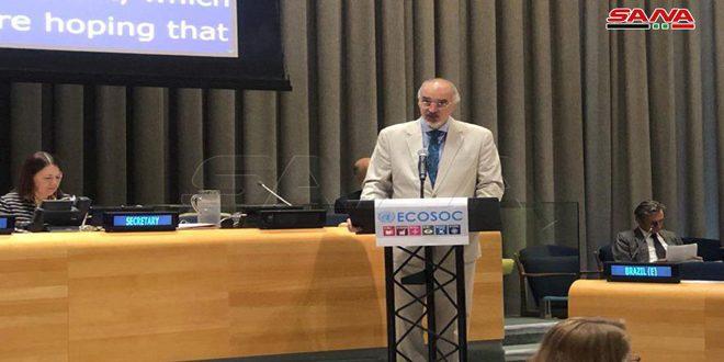 Jaafari : La politique de certains gouvernements d'imposer à la Syrie des mesures coercitives unilatérales entrave l'exécution de l'agenda de développement durable
