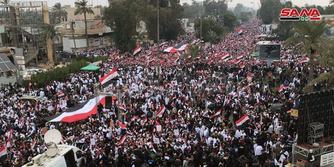 Manifestation imposante à Bagdad pour condamner la présence des forces américaines en Irak