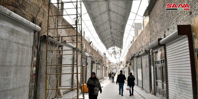 Avec des pas accélérés, réhabilitation du souk de Khabya dans la vieille ville d'Alep, endommagé par les terroristes