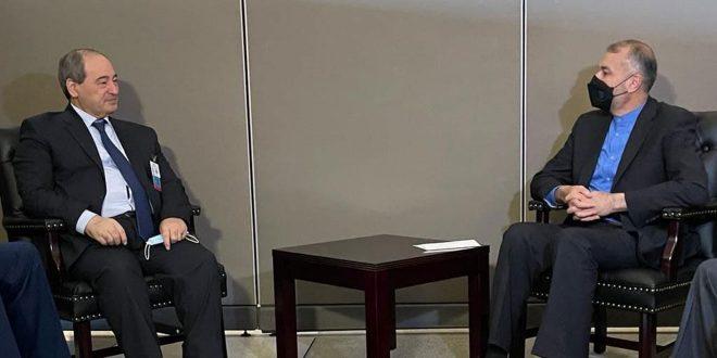 Miqdad examine à New York avec les ministres des AE d'Iran, d'Oman et d'Irak le renforcement des relations dans les différents domaines