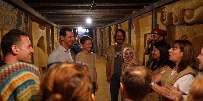 הנשיא אל-אסד ורעייתו ביקרו במנהרה שהפכה ליצירה אומנותית