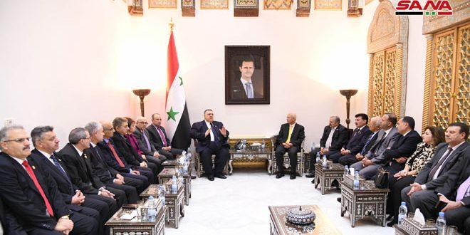 סבאע' במהלך פגישתו עם משלחת איגודית ירדנית : צריך לחזק את היחסים בין האיגודים המקצועיים בסוריה ובירדן