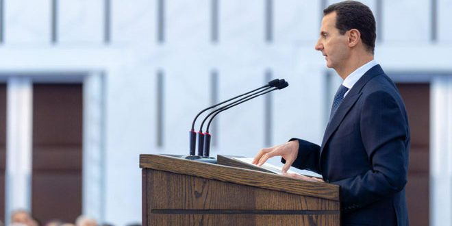 הנשיא אל-אסד: המלחמה היתה רק בנינו אנחנו הסורים לבין הטרוריסטים, וכל ניצחון צריך להיות על הטרור על כל מיניו