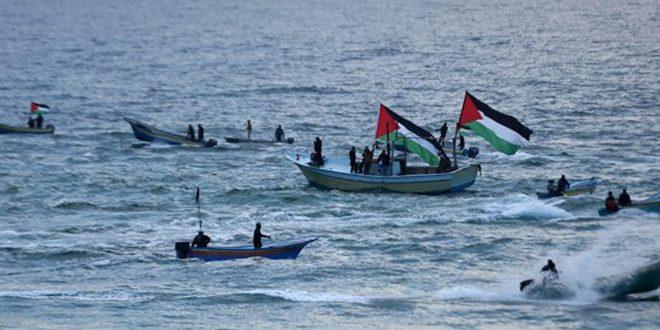 פציעת כמה פלסטינים בשל תוקפנות ישראלית נגד פעילות ימית