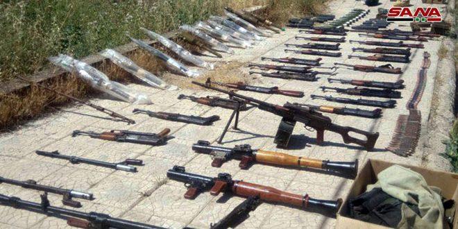 מציאת אמצעי לחימה ותחמושת שונים בשרידי הטרוריסטים בפרבר דרעא