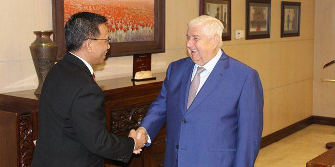 שר החוץ אלמועלם קיבל את כתב האמנתו של שגריר אנדוניזיה החדש בסוריה