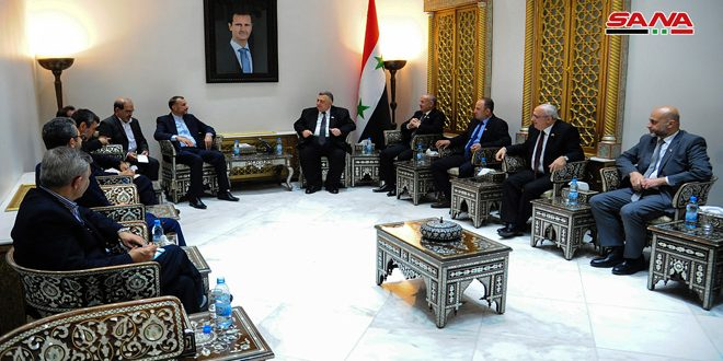 סבאע' דן עם עבדללה יאן בדרכי חיזוק הקשרים הפרלמנטריים הסוריים-איראניים