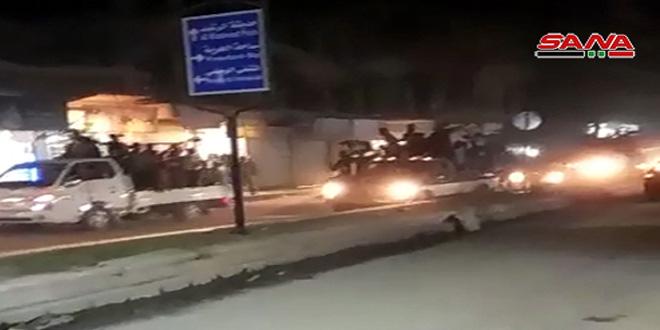 תהלוכות עממיות בעיר אלרקה כאות ברכה לכניסת הצבא הערבי הסורי לאזורי המחוז