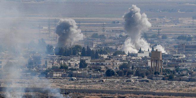 כוחות הכיבוש הטורקי שורפים את בתיהם של כמה תושבים בעקבות שדידתם בכפרי אזור תל תמר וראס אלעין בפריפריה הצפונית של אלחסקה