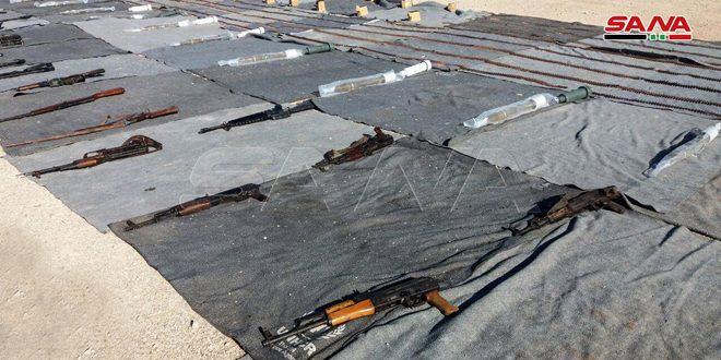 מציאת כלי נשק תחמושת ותרפות מקצתם מתוצרת ישראלית ומערבית משרידי הטרוריסטים בפרברי דמשק הדרום –מערבי ואלקוניטרה הצפוני