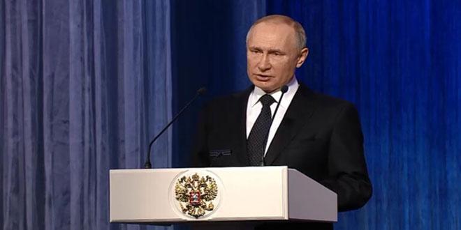 פוטין מדגיש כי השתתפות הכוחות הרוסיים במלחמה נגד הטרור בסוריה מנעה חשיפת ביטחון רוסיה לאיומים רציניים