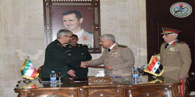 סוריה ואיראן חתמו על הסכם צבאי מקיף לחיזוק שיתוף הפעולה הצבאי והביטחוני בניהן בכל תחומי עבודת הכוחות המזוינים