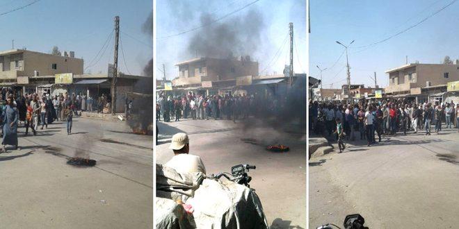 """תושבי אזור אלשדאדי בפרבר אלחסכה מפגינים במחאה על פשעי מיליציה קס""""ד וכוחות הכיבוש האמריקני"""