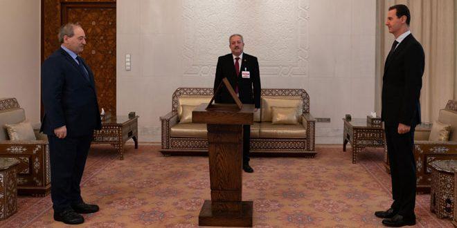 בפני הנשיא אל-אסד … אל-מוקדאד נשבע אמונים כשר החוץ והמהגרים