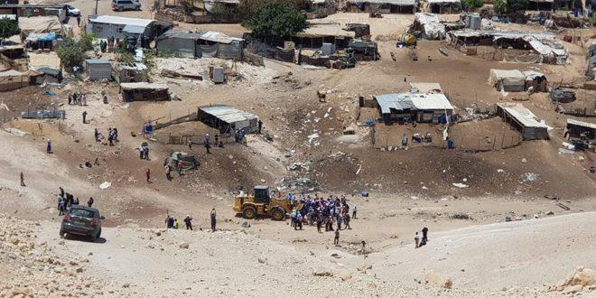 עצרת מחאה בכפר אלח'אן אלאחמר באלקודס הכבושה דוחה איום הכיבוש להרוס אותו